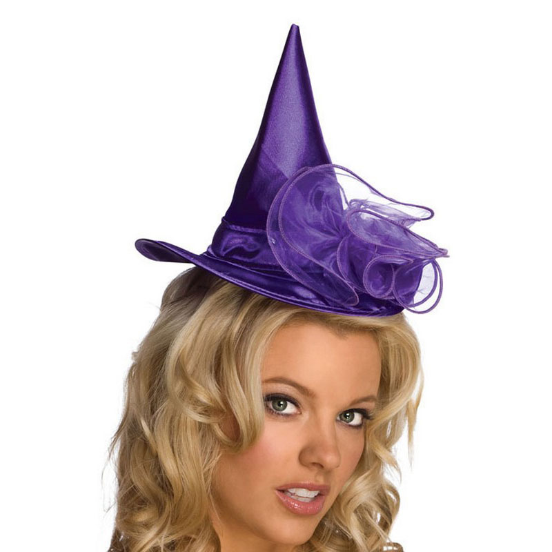 LH3137 Mini Witch Halloween Hats Purple Hat