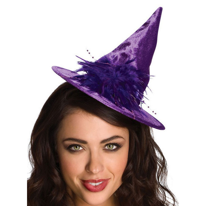 LH3139 Mini Witch Hats Purple Feather Witch Hat