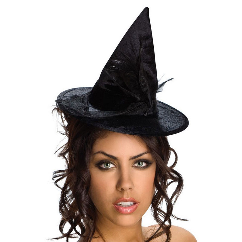 LH3142 Costume Mini Hats Black Velour Witch Hat.