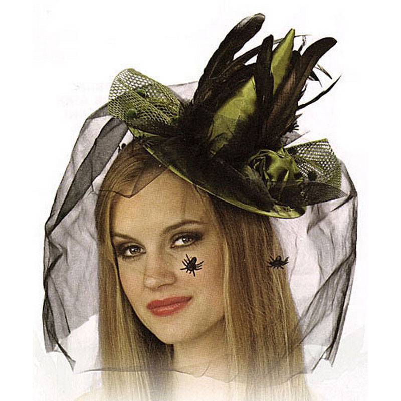 LH3145  Green Mini Witch Hat with Feather and Veil
